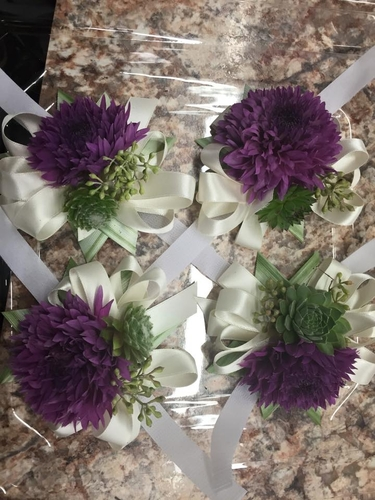 Frizzy Lizzy Wrist Corsages | Dahlia Wedding Bride Bouquets